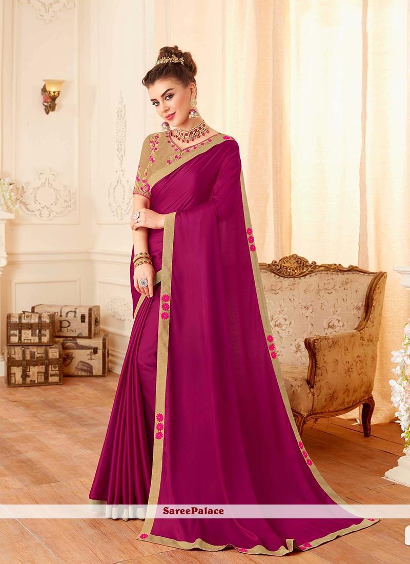 Lace Silk Trendy Saree in Magenta