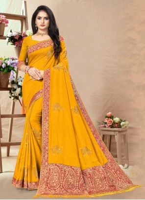 Lace Traditional Yellow Saree