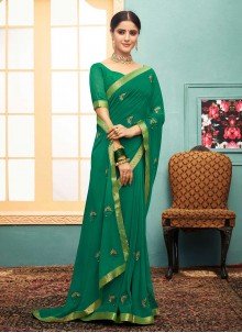Green Lace Georgette Trendy Saree