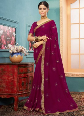 Purple Lace Georgette Trendy Saree