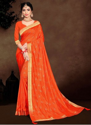 Orange Lace Vichitra Silk Traditional Saree
