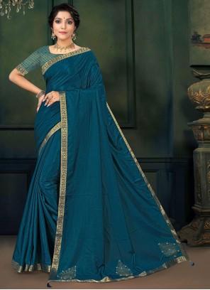 Lace Vichitra Silk Morpeach Traditional Saree