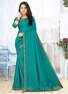 Lace Vichitra Silk Turquoise Classic Saree