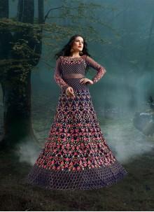 Lace Violet Net Floor Length Anarkali Suit