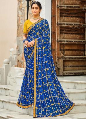 Blue Lace Wedding Bollywood Saree