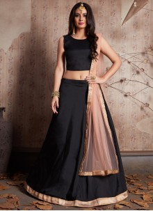 Lace Work Black Lehenga Choli