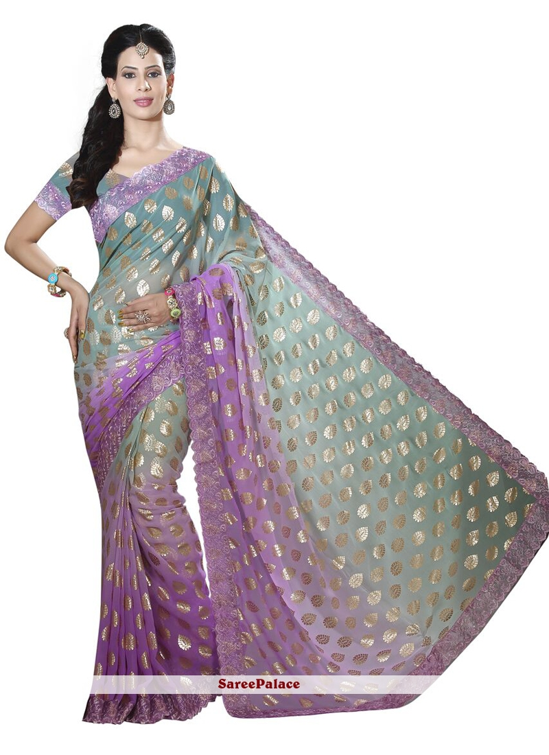 Lace Work Green and Violet Traditional Designer Saree