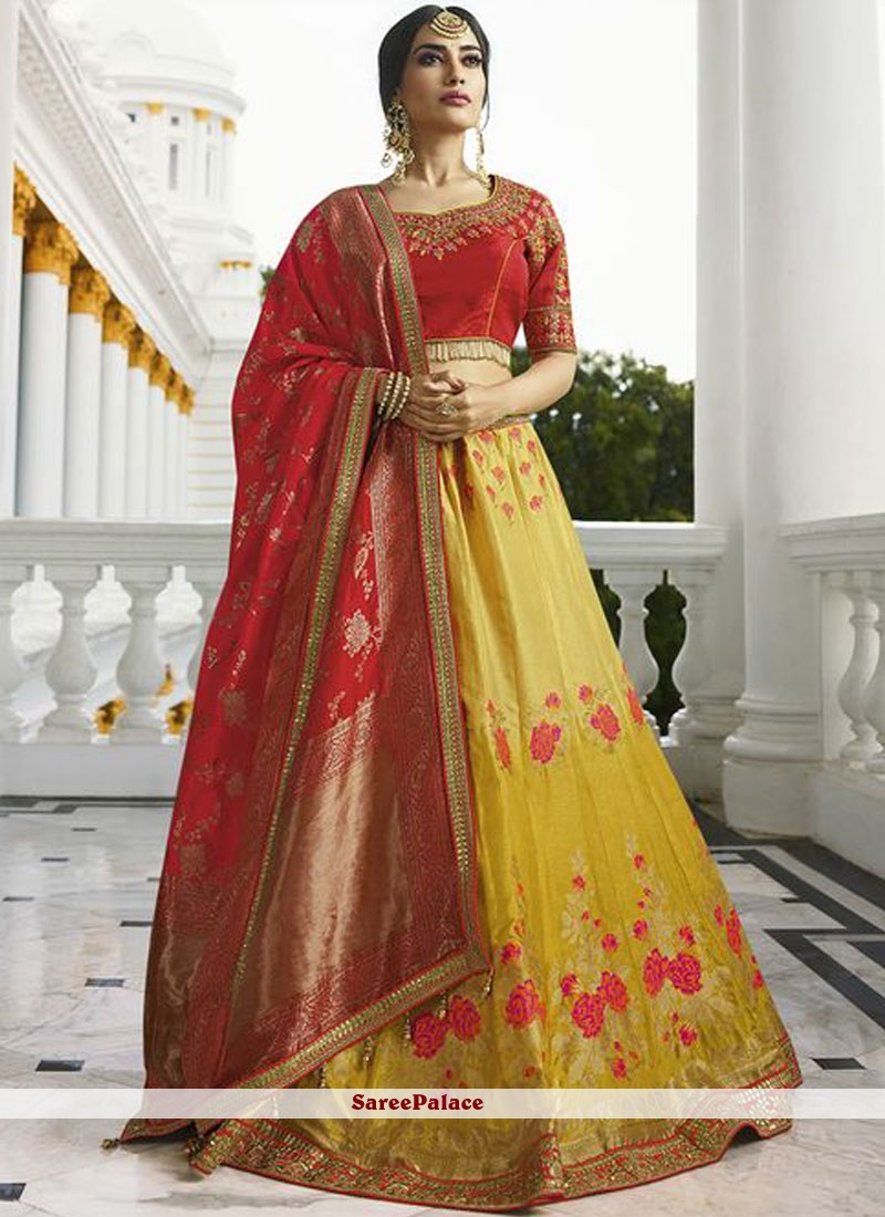 fb8cd86f0b067 Buy Lace Work Red and Yellow Lehenga Choli Online