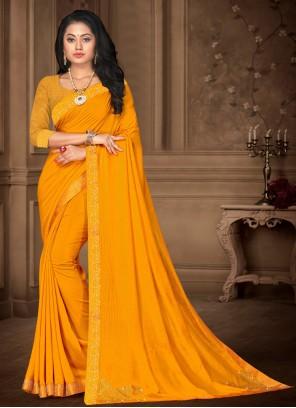 Lace Yellow Vichitra Silk Classic Saree
