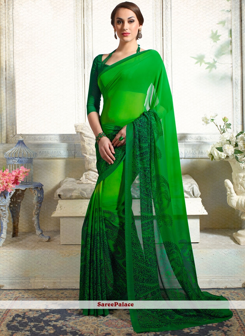 Latest Faux Georgette Green Print Work Casual Saree