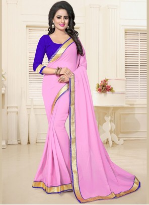 Latest Faux Georgette Lace Work Casual Saree