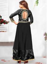 Latest Stone Work Black Faux Georgette Anarkali Salwar Kameez