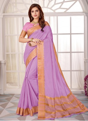 Lavender Cotton Silk Fancy Classic Designer Saree