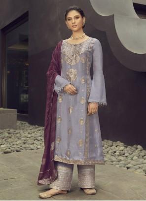 Lavender Embroidered Engagement Designer Palazzo Salwar Suit