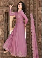 Lavender Embroidered Engagement Floor Length Anarkali Suit