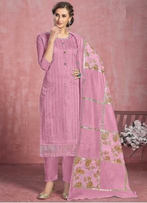 Lavender Fancy Cotton Pant Style Suit