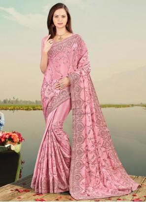 Lavender Faux Chiffon Resham Designer Saree