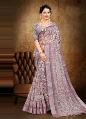 Lavender Festival Printed Saree