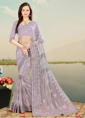 Lavender Embroidered Net Designer Saree