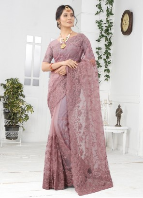 Lavender Net Embroidered Designer Saree