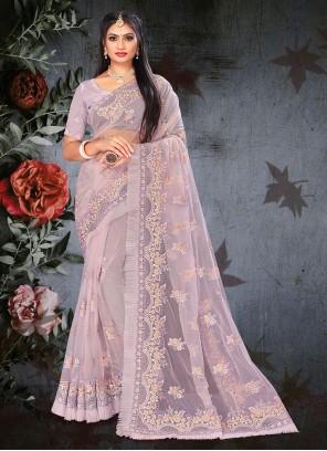 Lavender Net Designer Saree