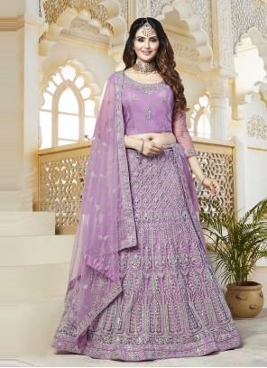 Lavender Net Engagement Lehenga Choli
