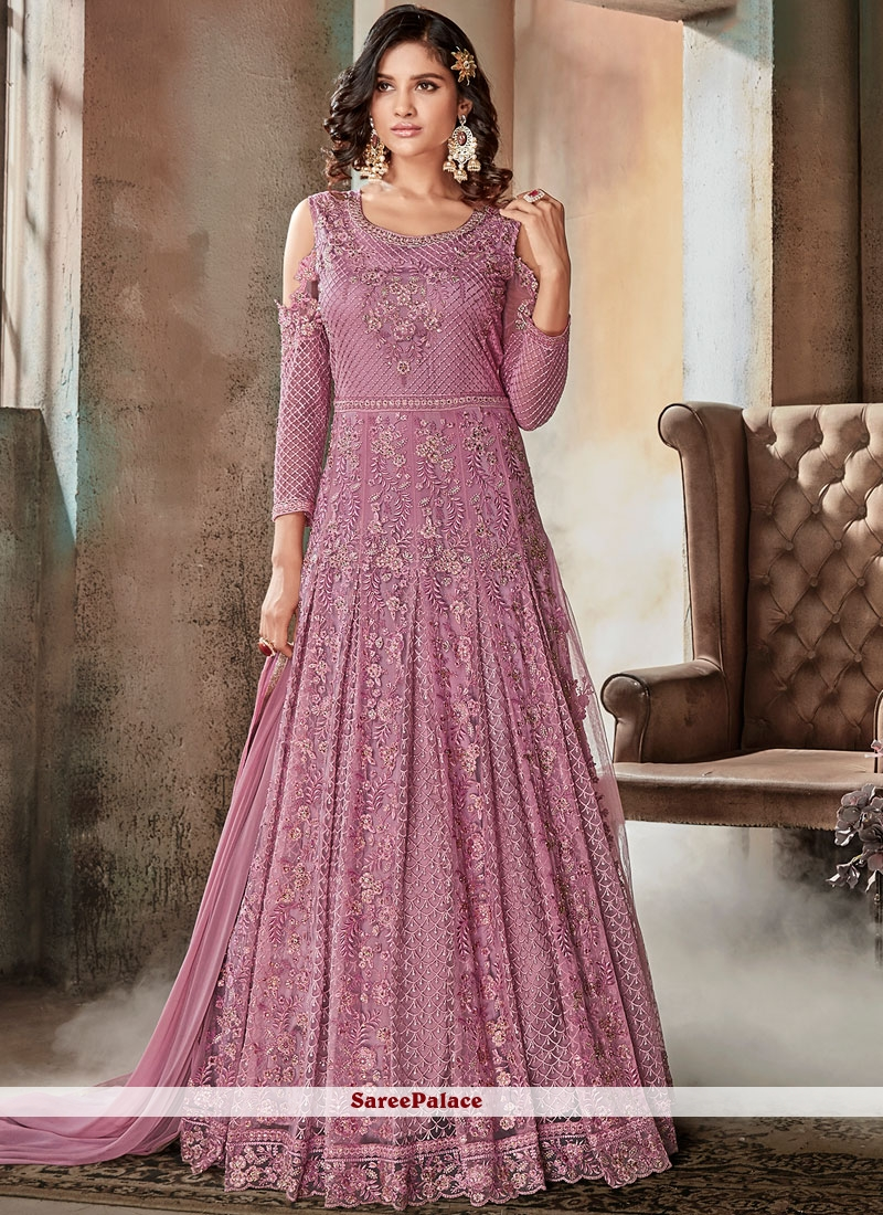 75ddddc55b6 Buy Lavender Net Floor Length Anarkali Suit Online