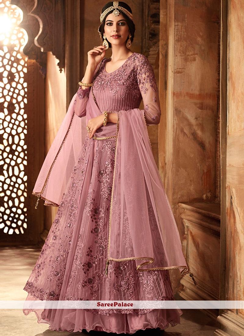 9fbddbe56b Buy Lavender Net Long Choli Lehenga Online