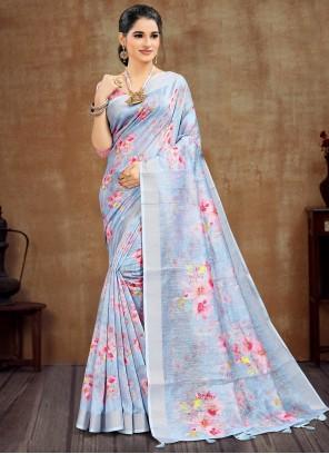 Lavender Cotton Party Printed Saree