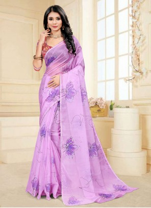 Lavender Fancy Fabric Printed Saree