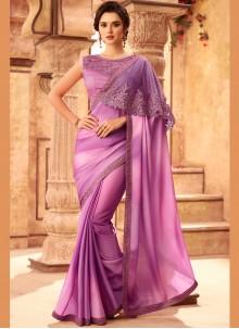 Lavender Resham Art Silk Shaded Saree