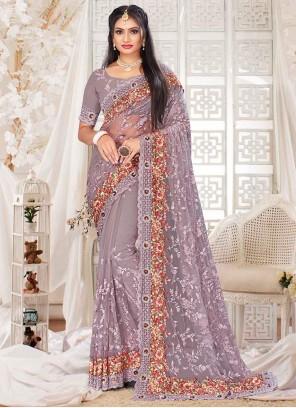 Lavender Sangeet Net Designer Saree