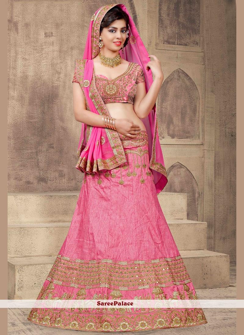 Lavish Art Silk Rose Pink Lehenga Choli