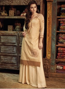 Lavish Chanderi Cream Party Wear Kurti