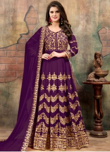 Lavish Purple Floor Length Anarkali Suit