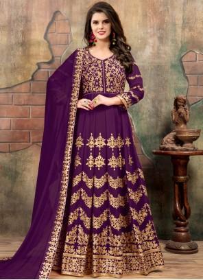 Lavish Purple Floor Length Anarkali Suit