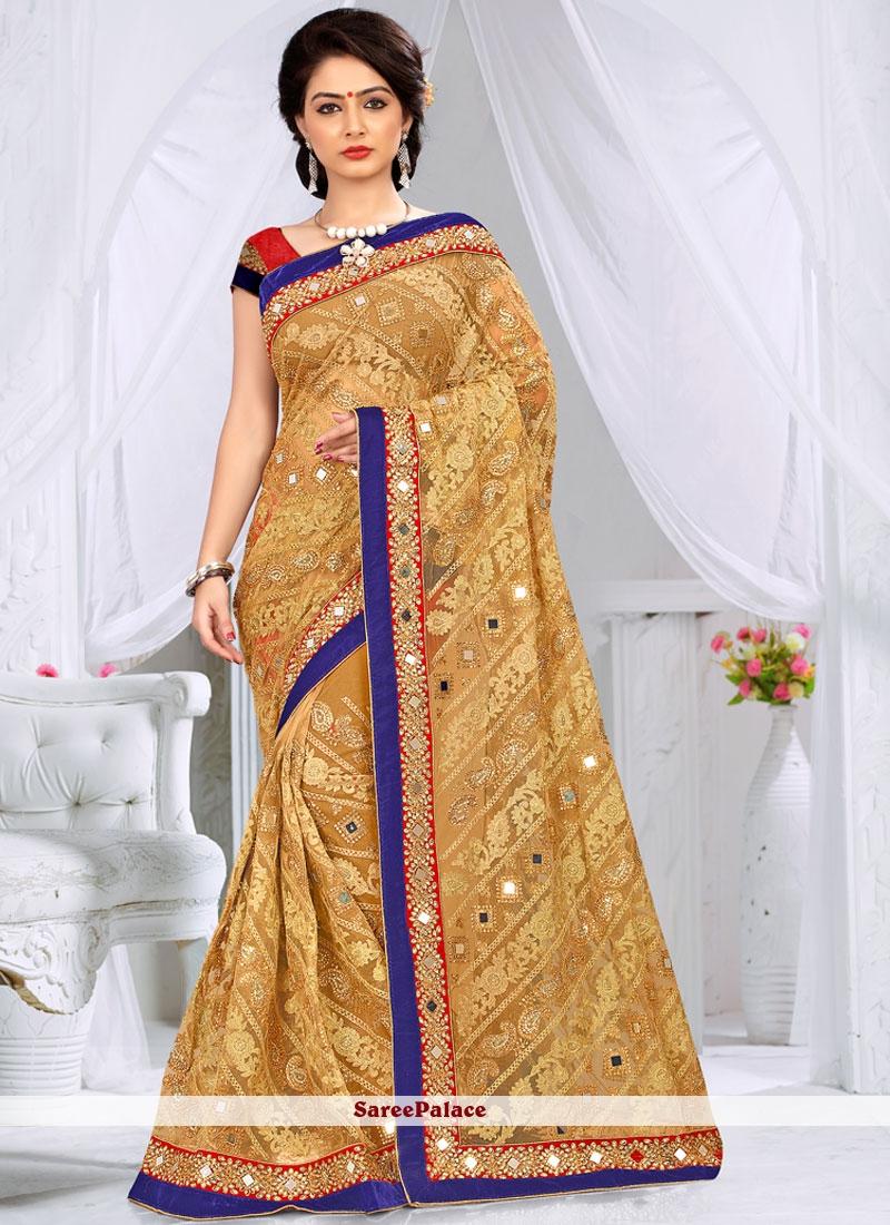 Lavish Resham Work Beige Classic Designer Saree