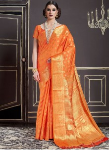 Lavish Weaving Work Orange Traditional Designer Saree
