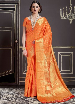 Lavish Weaving Work Orange Traditional Designer Saree