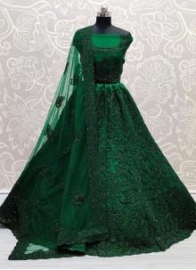 Lehenga Choli Diamond Net in Green
