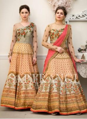 Lehenga Choli Embroidered Fancy Fabric in Cream