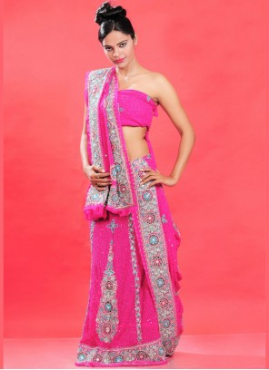 Lehenga Choli Embroidered Faux Georgette in Hot Pink