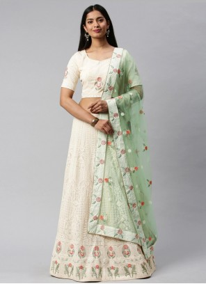 Lehenga Choli Embroidered Faux Georgette in Off White