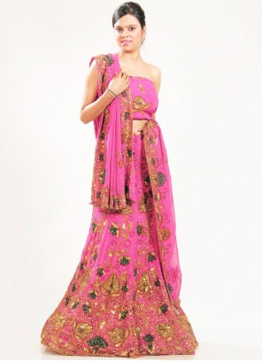Lehenga Choli Embroidered Faux Georgette in Pink