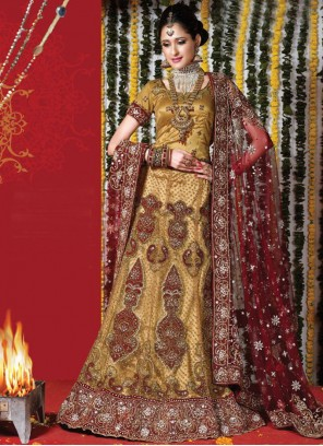 Lehenga Choli Embroidered Net in Gold