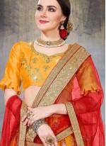 Lehenga Choli Embroidered Net in Yellow