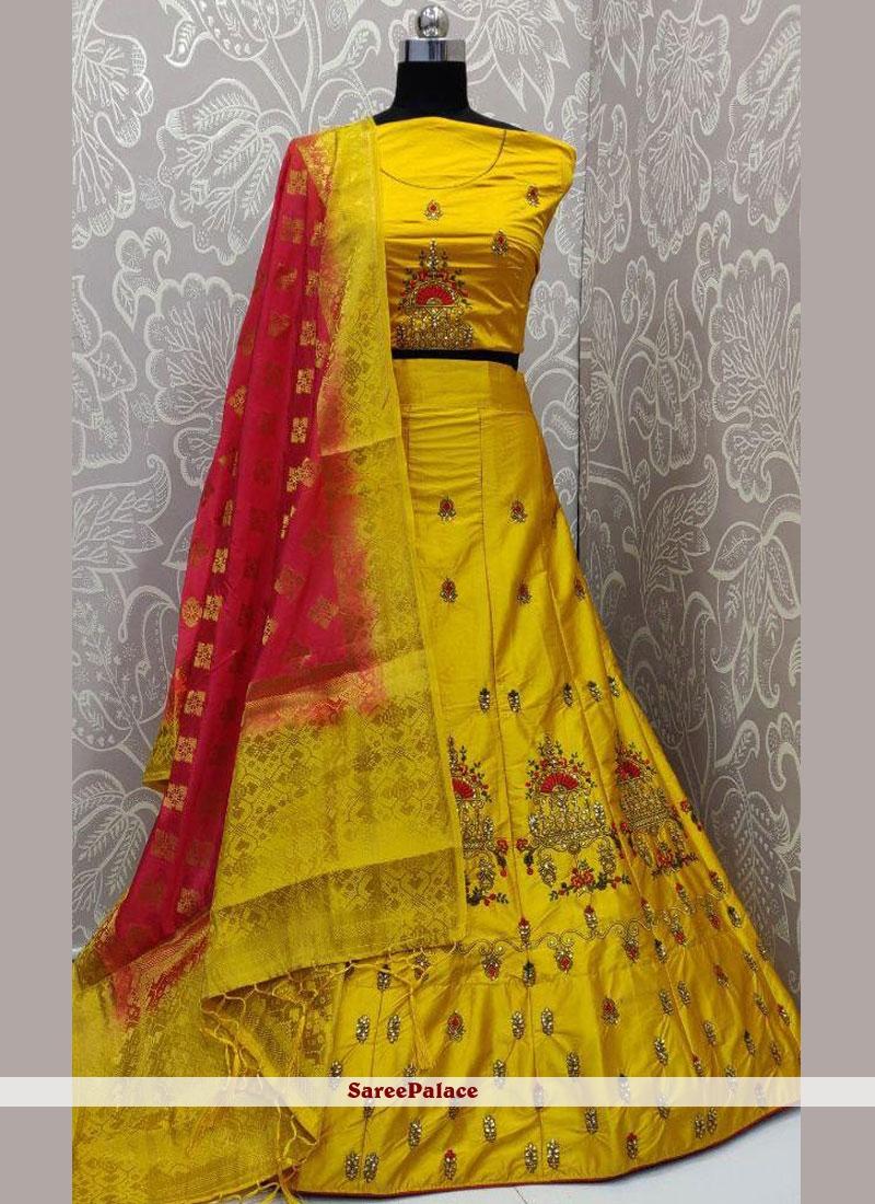 Lehenga Choli Embroidered Satin Silk in Yellow