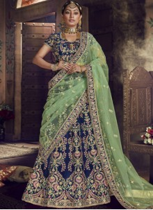 Lehenga Choli Embroidered Velvet in Blue