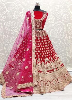 Lehenga Choli Embroidered Velvet in Pink
