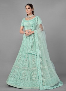 Lehenga Choli Fancy Net in Sea Green